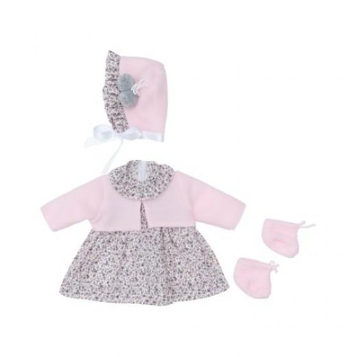 Asi dukketøj Leonora kjole blomstret m/kyse og cardigan 46 cm-31