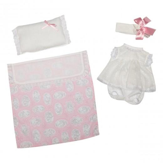 Asi dukketøj Lucia Kjole hvid blonde, bloomers, hårbånd, tæppe og pude 42 cm-31