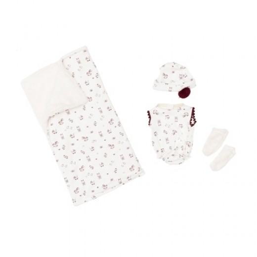 Asi dukketøj Koke dragt, hue, sokker og tæppe creme m/rødt 36 cm-31