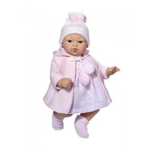 Asi dukke Koke kjole lyserød strik m/frakke, hue og futter 36 cm-31