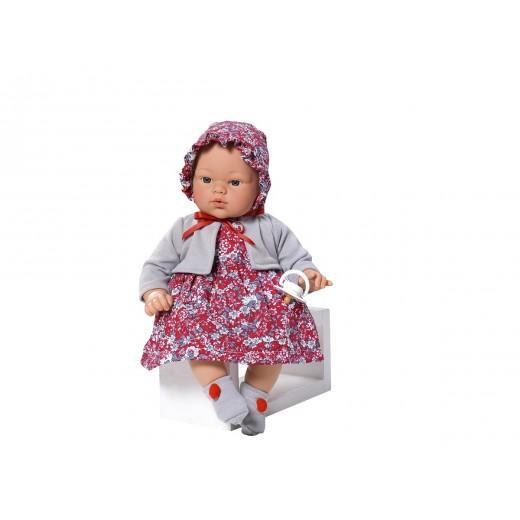 Asi dukke Koke kjole rødblomstret m/grå cardigan og kyse 36 cm-31