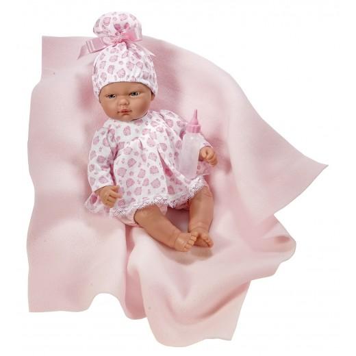 Asi dukke Oli kjole i hvid med rosa katte og tæppe 30 cm-33