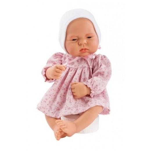 Asi dukke Lucia kjole blomstret lyserød og hvid kyse 42 cm-33