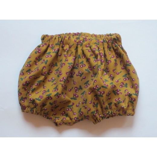 astas Bloomers baby fløjl mustard/cherries limited edition-31