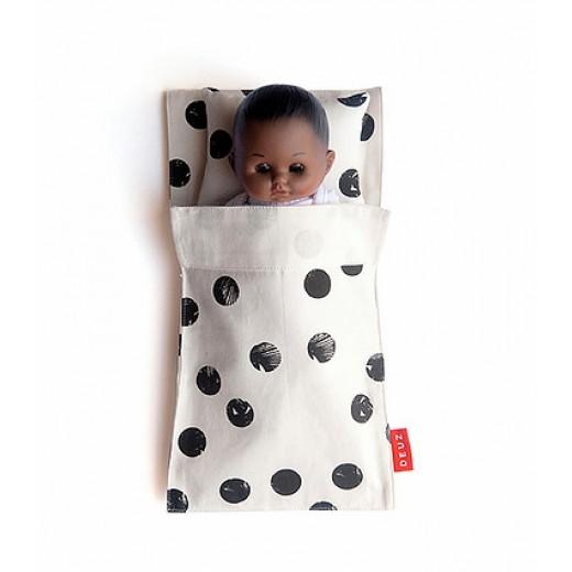 DEUZ Sovepose til dukker/bamser creme/sort prik-31