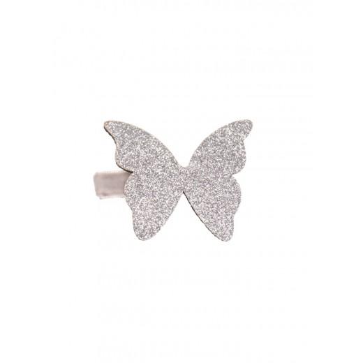 Bon Dep Hårspænde Butterfly aligator clip silver-31