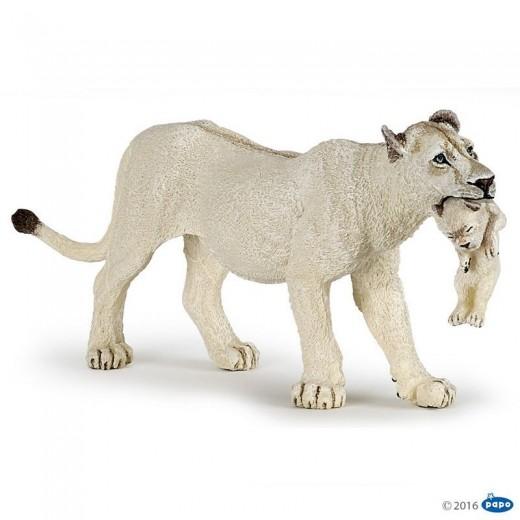 papo figur Hvid Løve med unge-312