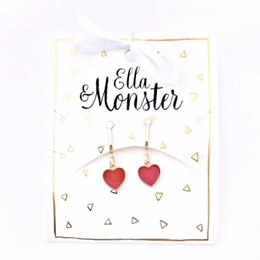 Ella and Monster Clips Øreringe Red Heart-314