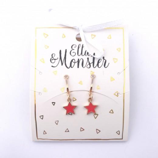 Ella and Monster Clips Øreringe Star red-316