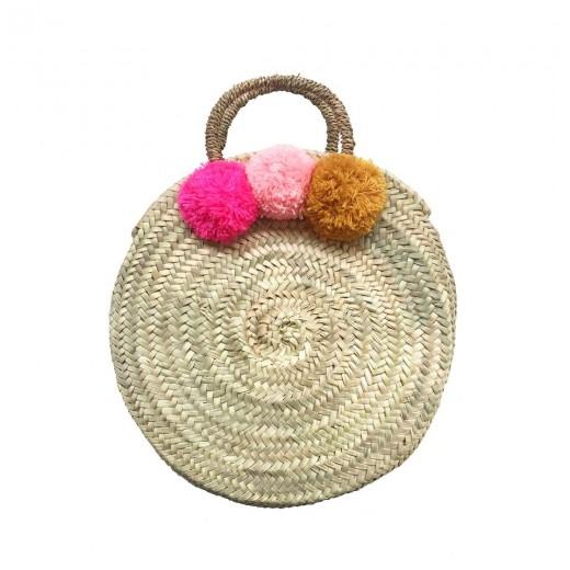 ROSE IN APRIL Pompom Basket Gaby neon pink/light pink/mustard-32