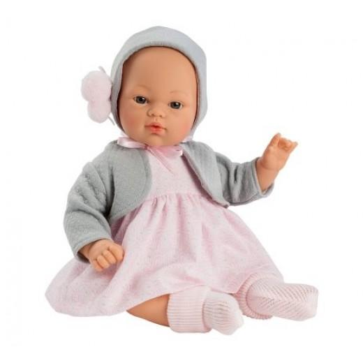 Asi dukke Koke kjole lysrød, hue og cardigan grå 36 cm-33