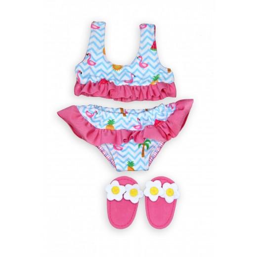 Heless Dukke Bikini m/slipers Flamingo 28-35 cm-34