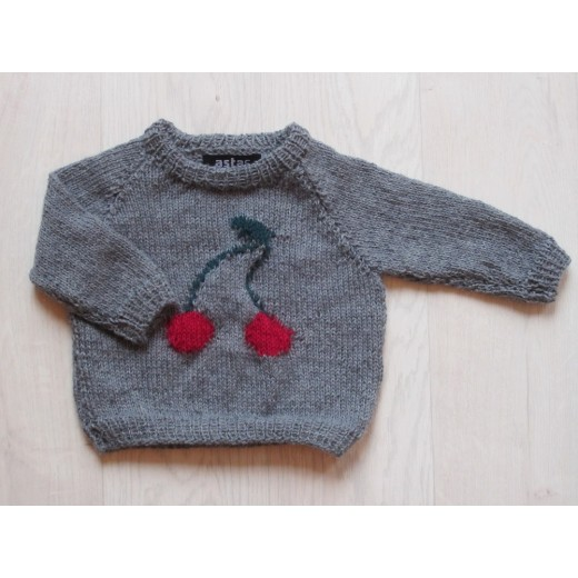 astas Cherry Sweater grey/ red cherry-31