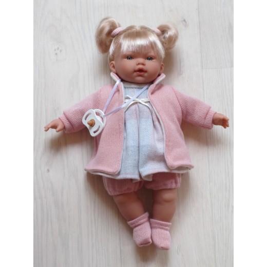 Llorens lyshåret dukke 33 cm rosaternet kjole-35