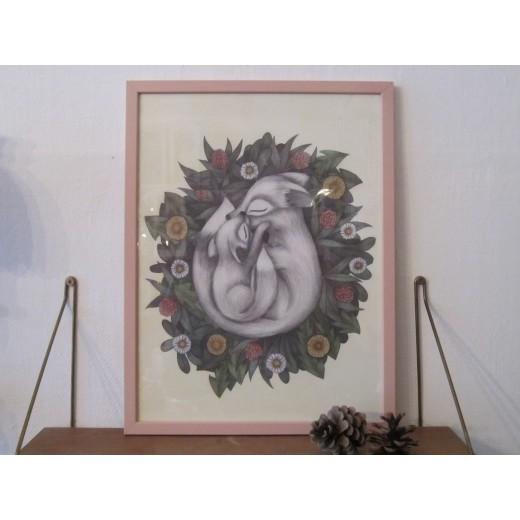 Kajsa Wallin Print Summer Foxes 30 x 40 cm med ramme-33