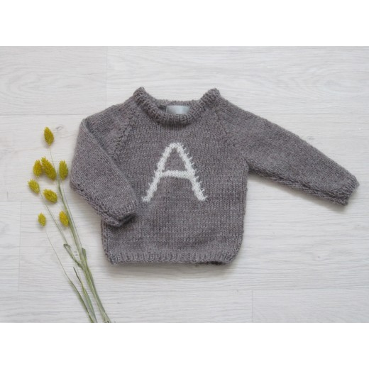 Astas Sweater Fluffy A-Letter brown/creme A-32