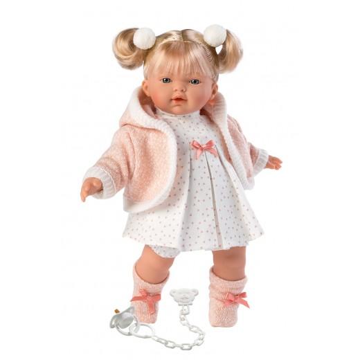 Llorens lyshåret dukke 33 cm hvid kjole m/rosa hjerter-35