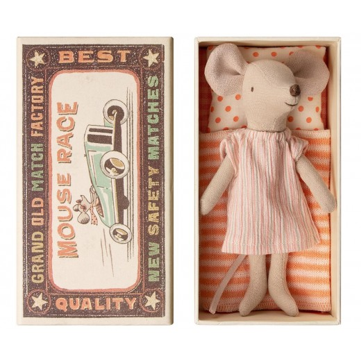 maileg Mouse Big Sister in box stripe pink dress-310