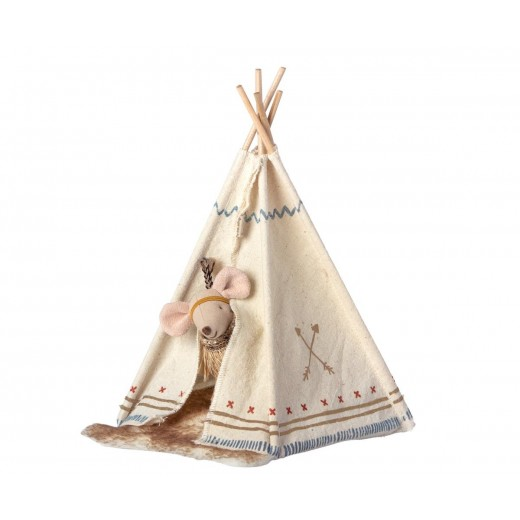 maileg Mouse Little Sister Little Feather m/ tipi-311