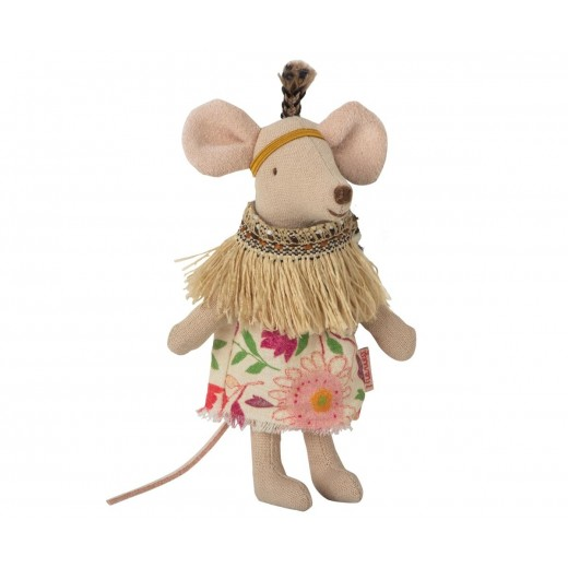 maileg Mouse Little Sister Little Feather m/ tipi-011