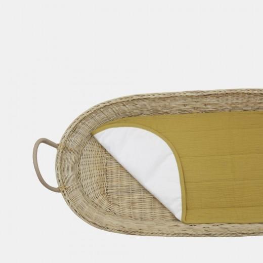 Olli Ella Bomuldsunderlag økologisk til Changing Basket mustard-314