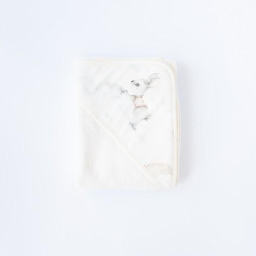 Petit COCO Babyhåndklæde med hætte kanin douce lyserød 85 x 85 cm-36