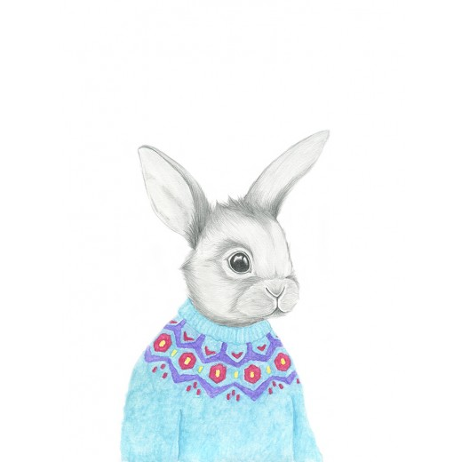 Kajsa Wallin Print Rabbit in knit 30 x 40 cm-31