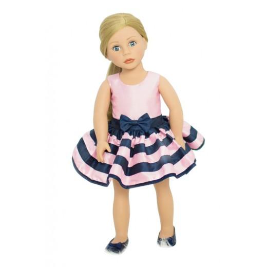 Bonnie and Pearl Dukketøj Pink Stribet kjole 46-50 cm-010