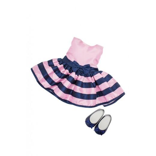 Bonnie and Pearl Dukketøj Pink Stribet kjole 46-50 cm-310
