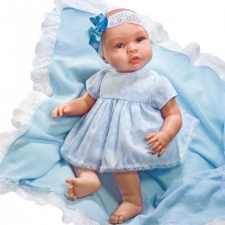 Asi dukke Leonora lys blå blonde kjole m/hårbånd 46 cm-20
