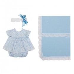 Asi dukketøj Leonora , bloomers og pandebånd blå 46 cm-20