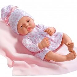 Asi dukke Lucia hvid kjole m/ rosa katte og tæppe 42 cm-20