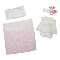 Asi dukketøj Lucia Kjole hvid blonde, bloomers, hårbånd, tæppe og pude 42 cm-20