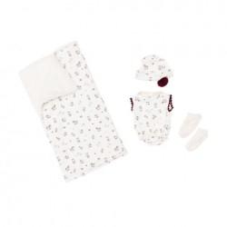 Asi dukketøj Koke dragt, hue, sokker og tæppe creme m/rødt 36 cm-20