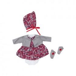 Asi dukketøj Koke kjole blomstret med kyse, bloomers og strømper 36 cm-20