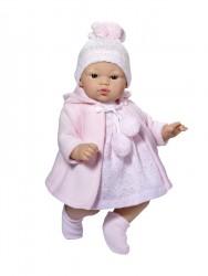 Asi dukke Koke kjole lyserød strik m/frakke, hue og futter 36 cm-20