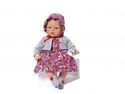 Asi dukke Koke kjole rødblomstret m/grå cardigan og kyse 36 cm-20