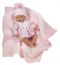 Asi dukke Oli kjole i hvid med rosa katte og tæppe 30 cm-20