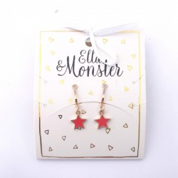 Ella and Monster Clips Øreringe Star red-20