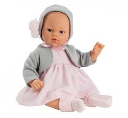Asi dukke Koke kjole lysrød, hue og cardigan grå 36 cm-20
