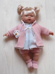 Llorens lyshåret dukke 33 cm rosaternet kjole-20