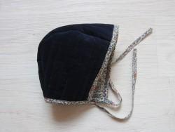astas Bonnet fløjl/liberty stof navy/navyflowers-20