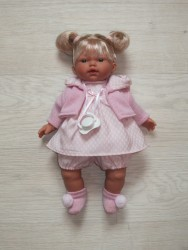 Llorens Dukke lyshåret lyserød kjole m/lyserød cardigan strik 33 cm-20