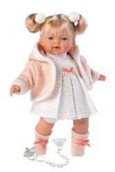 Llorens lyshåret dukke 33 cm hvid kjole m/rosa hjerter-20