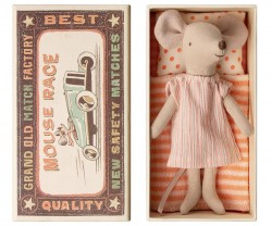 maileg Mouse Big Sister in box stripe pink dress-20
