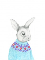 Kajsa Wallin Print Rabbit in knit 30 x 40 cm-20