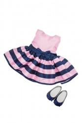 Bonnie and Pearl Dukketøj Pink Stribet kjole 46-50 cm-20