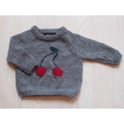 astas Cherry Sweater grey/ red cherry-20